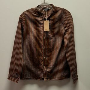A.P.C. Brown Striped Cotton Button Up Blouse